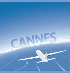 Cannes skyline flight destination vector