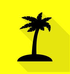 Coconut palm tree sign black icon with flat style vector