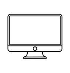 Computer screen monitor technology outline vector