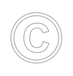 Copyright sign black dotted vector