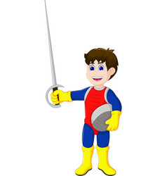 Cute knight cartoon holding sword vector