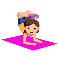 cute woman character doing yoga vector image