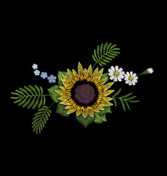 embroidery colorful floral pattern sunflower daisy vector image