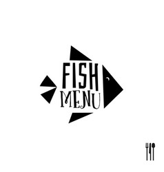 fish menu with cutlery sign vector image vector image