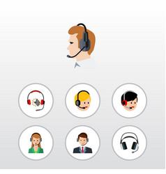 Flat telemarketing set of headphone call center vector