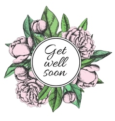 Get well soon friendly vintage card vector