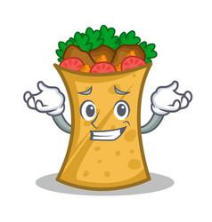Grinning kebab wrap character cartoon vector