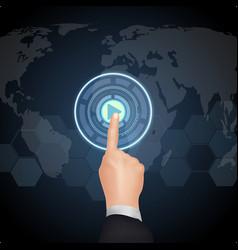 Hand choose button on virtual screen vector