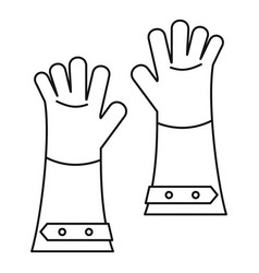 Heat resistant gloves for welding icon outline vector