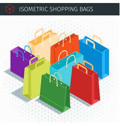 isometric shopping bags vector image vector image