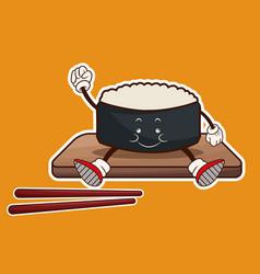 Kawaii roll sushi oriental food wooden plate chop vector