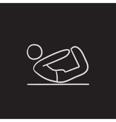 Man practicing yoga sketch icon vector image vector image