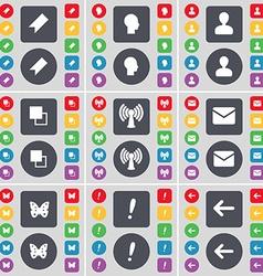 Marker silhouette avatar copy wi-fi message vector