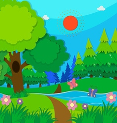 Nature scene with trees and river vector
