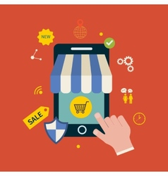 Online shopping icons vector image