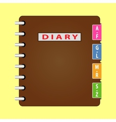 Personal organizer diary with brown cover vector