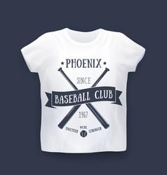 phoenix baseball club print on t-shirt mockup vector image