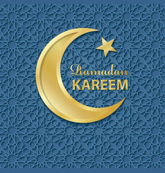 Ramadan kareemblue pattern backgroundgold moon vector