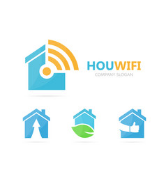 real estate and wifi logo combination vector image vector image