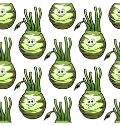 Ripe kohlrabi vegetables seamless pattern vector image vector image