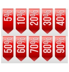 Sale Ribbons with different percentages of vector image