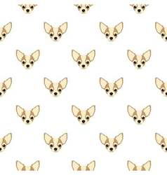 Seamless pattern with chihuahua Dog head flat icon vector image vector image