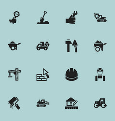 Set of 16 editable building icons includes vector