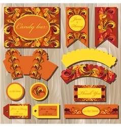 Set of printable backgrounds to wedding candy bar vector
