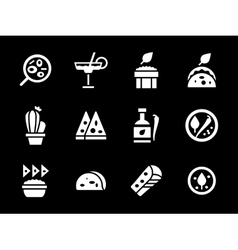 Simple white glyph mexican menu icons vector
