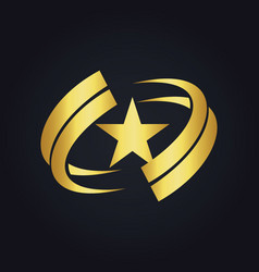 star america circle abstract gold logo vector image