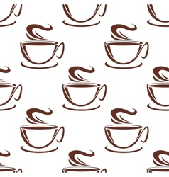 Steaming coffee cups seamless pattern vector image