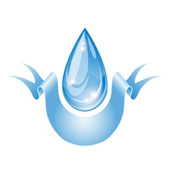 Stylized water drop with ribbon vector