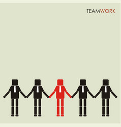 teamwork concept row of business people holding vector image vector image
