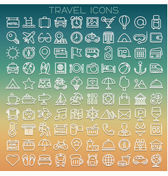 travel line icons set vector image