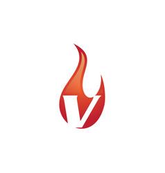 V letter flame logo vector