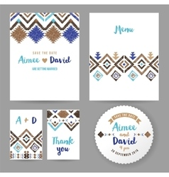 Wedding cards with tribal ornaments vector image vector image