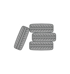 Pile of black tires icon cartoon style vector