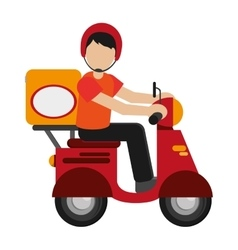man delivering boxes on scooter icon vector image