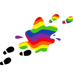 Print feet in a puddle of rainbow vector
