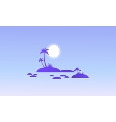 Island and rock on seaside silhouettes vector