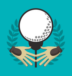 Golf gloves ball on tee label vector