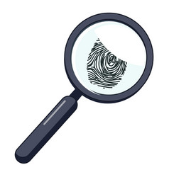 magnifier and fingerprint icon cartoon style vector image