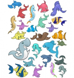 Fish and marine life vector