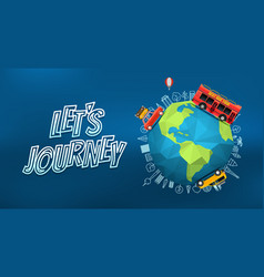 Lets journey logo with the earth on blur vector
