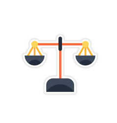 Stylish sticker on paper scales on white vector