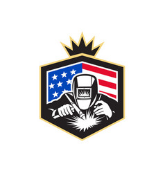 welder arc welding usa flag crest retro vector image