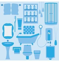 Set of furniture in bathroom vector