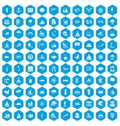 100 sailing vessel icons set blue vector