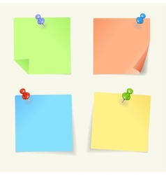 set of colour sticky Notes with pin vector image