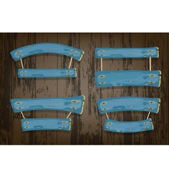 Blue wooden banners and ribbons hanging on ropes vector